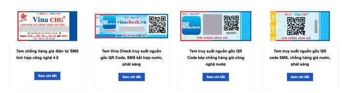 Một số mẫu tem chống hàng giả do Vina CHG cung cấp