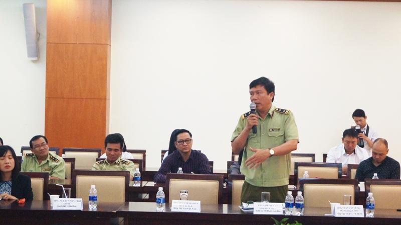 Ông Trần Văn Dũng, Phó Tổng Cục Quản lý thị trường phát biểu tại Diễn đàn.
